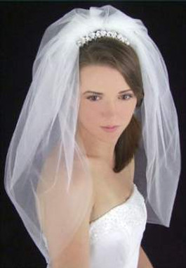 LC Bridal Style V2134-280 - Two Tier Short Length Folded Edge Bubble Veil