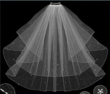 LC Bridal Style V2019-370 - Two Tier Fingertip Bugle Bead Edge Oval Cut Folded Veil