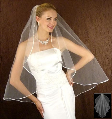 LC Bridal Style V2703-320 - One Tier Fingertip Angel Cut w/ Ribbon Edge Veil