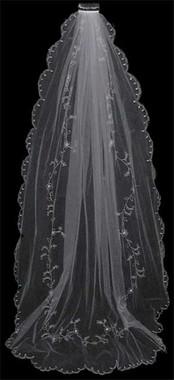 LC Bridal Style V67X-390 - One Tier Embroidered Cathedral Veil w/ Swarovski Rhinestone