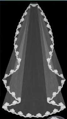 """LC Bridal Style V2014-660 - One Tier Cathedral w/ Round Shaped Veil - 72"""""""