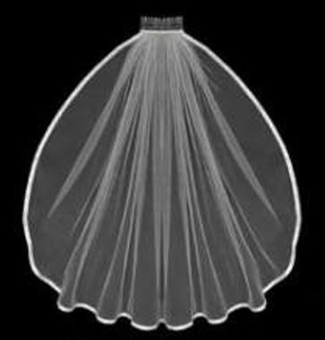 "LC Bridal Style V604-160 - Two Tier Fingertip 3/8"" Satin Ribbon Edge Veil - 20""/25"" Long"