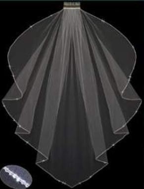 LC Bridal Style V2708-650 - One Tier Fingertip Angel Cut w/ Rhinestone Edge Veil