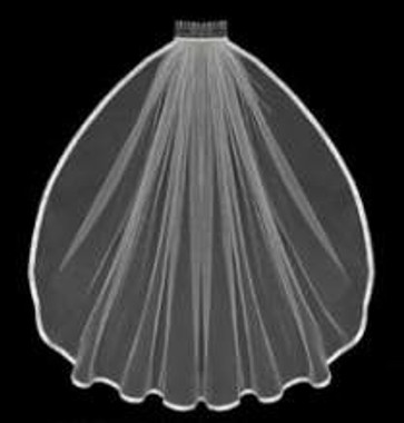 "LC Bridal Style V624-180 - Two Tier Fingertip 3/8"" Satin Ribbon Edge Veil - 30""/36"" Long"