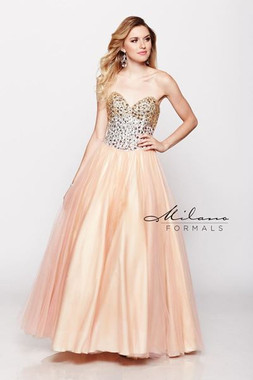 Milano Formals E1619 - Long Strapless Beaded A-Line Satin Dress