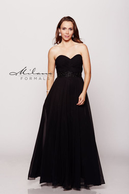 Milano Formals E1657 - Long Strapless Beaded Waistline & A-Line Chiffon Dress