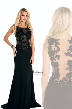 Milano Formals E1637 - Sheer Floral Beaded Top w/ Smooth Silhouette Long Dress