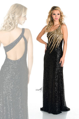 Milano Formals E1638 - Single Strap Beads w/ Fully Sequin Long Dress