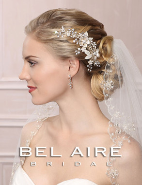 Bel Aire Bridal Accessory Headpiece 6452  Flower Comb With Rhinestones
