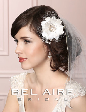 Bel Aire Bridal Accessory Headpiece 6453  Feather Flower Clip with French Net