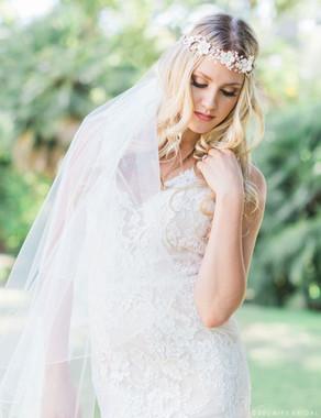 Bel Aire Bridal  Headpiece 6460 - Pearl & Rhinestone Flower Band