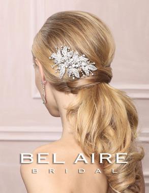 Bel Aire Bridal Accessory Headpiece 6486 - Rhinestone Leaf Comb