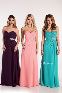 Milano Formals E1531 - Long Strapless Neckline Stone Embellishment Chiffon Dress