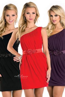 Milano Formals E1581 - Single Shoulder Asymmetrical Short Dress