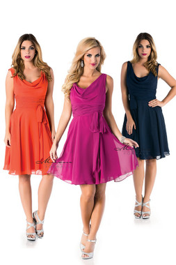 Milano Formals E1520 - Deep Scoop Neckline w/ Flare Chiffon Dress