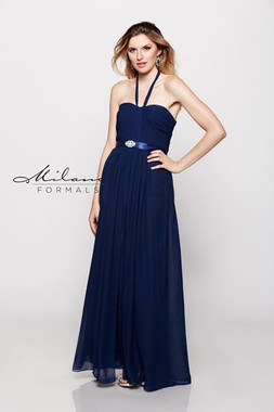 Milano Formals E1168 - Long Bridesmaid Dress w/ Rhinestones