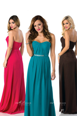 Milano Formals E1295 - Long Chiffon Overlay Bridesmaid Dress w/ Rhinestones
