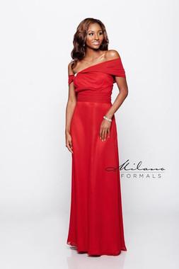 Milano Formals E1260 - Side Ways Sleeves Long Bridesmaid Dress