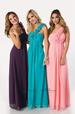 Milano Formals E1340 - One Shoulder Flower Design Bridesmaid Dress