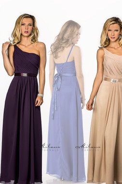 Milano Formals E1420 - One Shoulder Bridesmaid Dress w/ Sash & Broach -Corset Back
