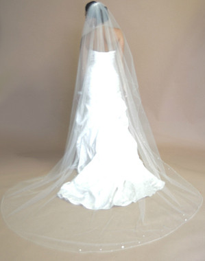 Ansonia Bridal Veil Style 614L - One Tier Cathedral Length Rolled Edge