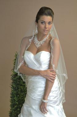 Ansonia Bridal Veil Style 615 - One Tier Fingertip - Beaded Edge