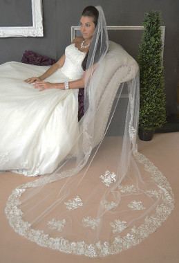 Ansonia Bridal Veil Style 621L - One Tier Cathedral Veil w/ Lace Edge