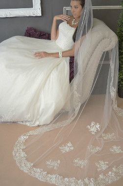 Ansonia Bridal Veil Style 621 SET - Two Tier Cathedral Veil w/ Lace Edge