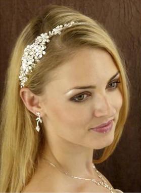 LC Bridal Headband Style 1817 - Metal Flowers w/ Pearls & Rhinestones