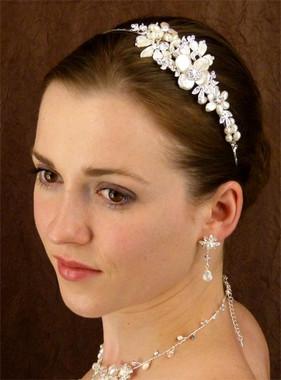 LC Bridal Headband Style 1813 - Metal Flowers w/ Pearls & Rhinestones