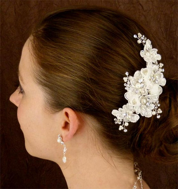 LC Bridal Comb Style 1812 - Pearls, Rhinestones, Silver Bugle Bead