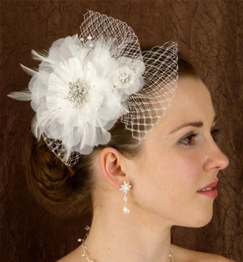 LC Bridal Hair Accessories Style 1773 - French Net w/ Swarovski Rhinestone