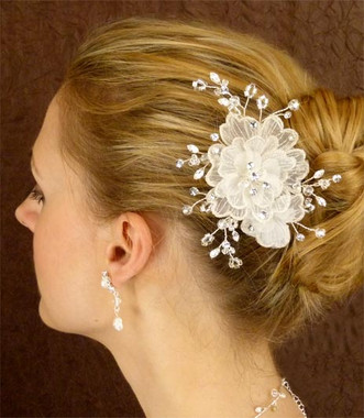 LC Bridal Comb Style 1820 - Wired Austrian Rhinestones & Crystal