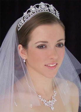 LC Bridal Tiara Style 523 - Crystals & Rhinestone Flowers