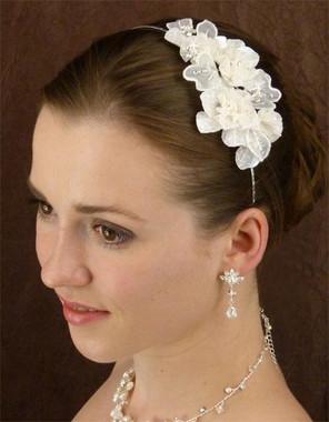 LC Bridal Headband Style 1814 - Flowers & Organza Leaves w/ Austrian Rhinestones