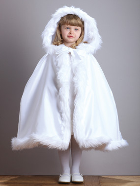 Hooded Children's White Satin Wedding Cloak with Faux Fur Trim
