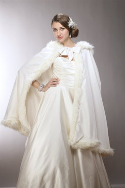 Mid Length Hooded Satin Bridal Cloak with Faux Angora Trim