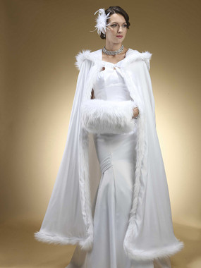 Full Length Hooded Satin Bridal Cloak with Faux Angora Trim