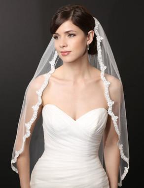 Bel Aire Bridal Wedding Veil V7226 - One Tier Fingertip Unbeaded Lace Veil