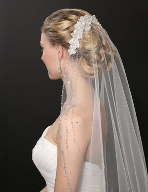 Bel Aire Bridal Wedding Veil V7230 - One Tier Fingertip Embroidered Floral Mantilla