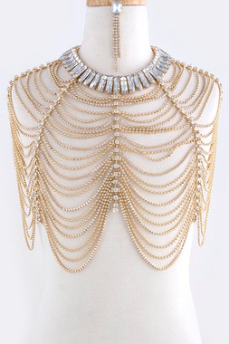 Gold Drop Crystal Fringe Rope Body Chain Jacket