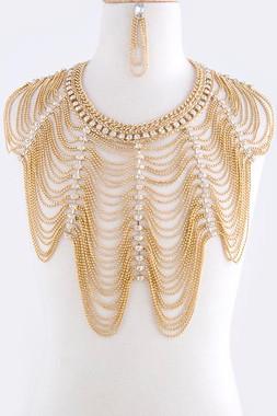 Fringe Crystal Rope Body Chain Jacket & Earrings