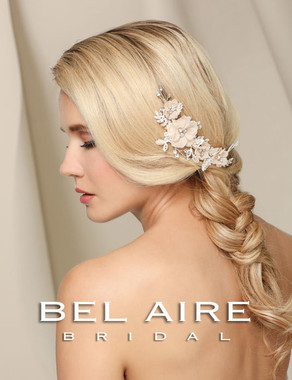 Bel Aire Bridal Accessory Headpiece 6525 - Comb of organza flowers