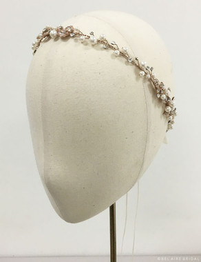 Bel Aire Bridal Accessory Headpiece 6534  - Pearl and rhinestone Garland
