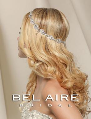 Bel Aire Bridal Headpiece 6509- Art Deco rhinestone motif halo