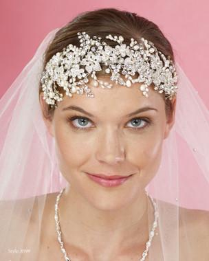 Marionat Bridal Headpieces 8599 - Rhinestone pearl spray band