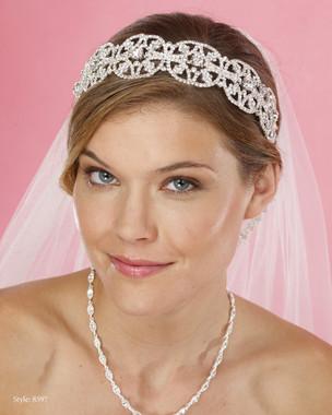 Marionat Bridal Headpieces 8597-  Wide rhinestone band