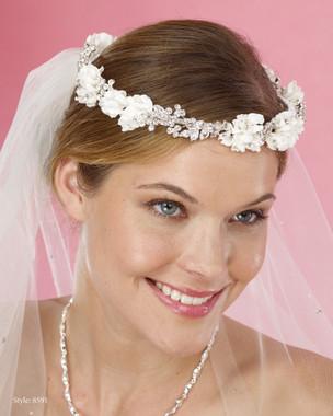 Marionat Bridal Headpieces 8591 - Flower and Rhinestone Circle Wreath