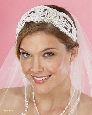 Le Crystal  Accessory - Marionat Bridal Headpieces 4608 - Lace Headband with Rhinestone Accent