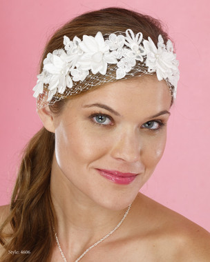 Le Crystal  Accessory - Marionat Bridal Headpieces 4606 - Russian Net Band with Flowers